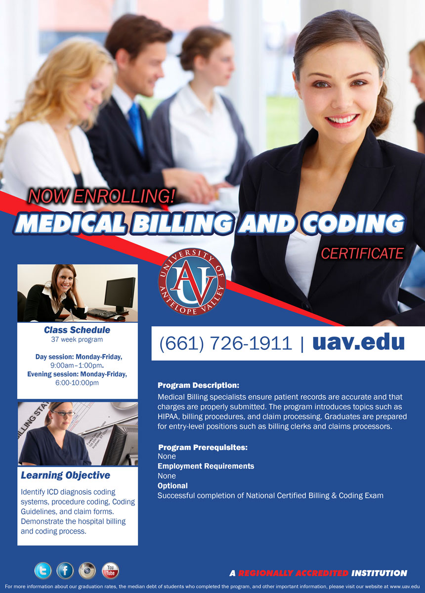 University of antelope valley start date medical billing please refer to school catalog for additional program and textbook information xflitez Choice Image