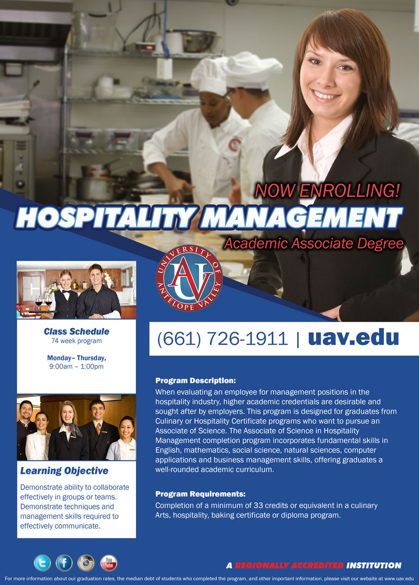 university of antelope valley hospitality management please refer to school catalog for additional program and textbook information