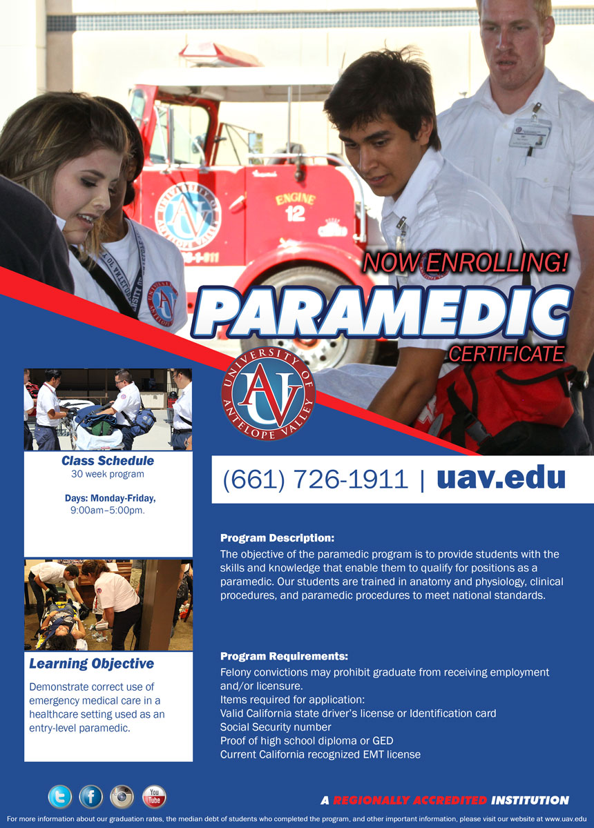 University of Antelope Valley Paramedic – Paramedic Job Description